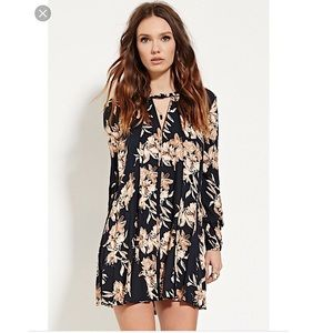 Navy blue/ taupe floral mini dress